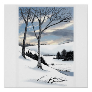 Winter Hillside Posters