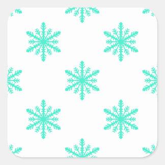 Winter Holiday Aqua Snowflake Square Sticker