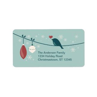 Winter Holiday Bird Label