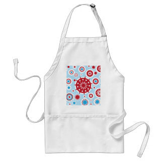Winter Holiday Blue Red Snowflakes Pattern Adult Apron