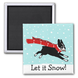 Winter Holiday Boston Terrier Let it Snow 2 Inch Square Magnet