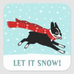 Winter Holiday Boston Terrier Let it Snow Square Sticker