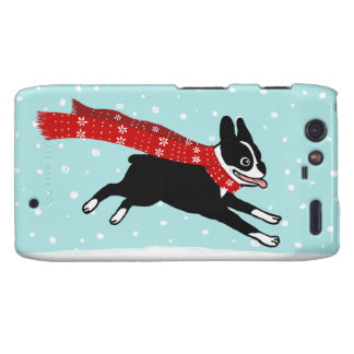 Winter Holiday Boston Terrier Wearing Red Scarf Motorola Droid RAZR Cover