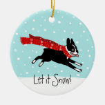 Winter Holiday Boston Terrier Wearing Red Scarf Double-Sided Ceramic Round Christmas Ornament