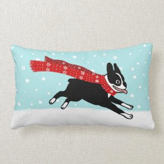 Winter Holiday Boston Terrier Wearing Red Scarf Lumbar Pillow