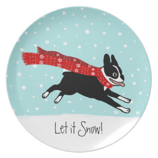 Winter Holiday Boston Terrier Wearing Red Scarf Dinner Plate