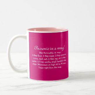 "Winter holiday ""brownie in a mug"" recipe gift Two-Tone coffee mug"