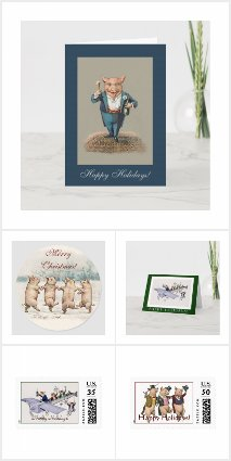 Winter Holiday Cards, Stamps and Wrapping Paper
