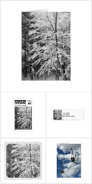 Winter Holiday Cards, Stamps, Labels, and Seals