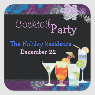 Winter Holiday Cocktail Party Invitation Stickers