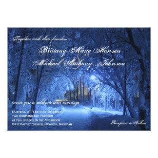 Winter Holiday Evening Snow Wedding Invitations