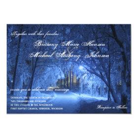 Winter Holiday Evening Snow Wedding Invitations 4.5
