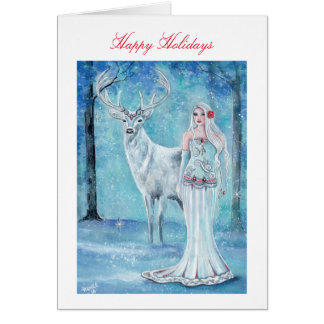 Winter Holiday goddess with deer card by Renee