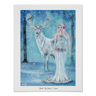 Winter Holiday goddess with deer poster  by Renee