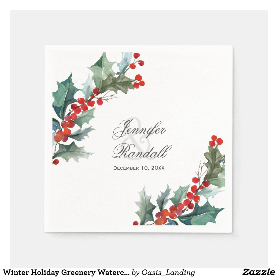Winter Holiday Greenery Watercolor Wedding Paper Napkin