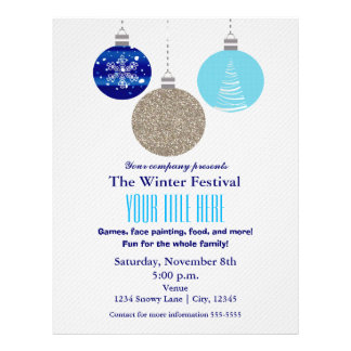 Winter Holiday Hanging Ornament Event Flyer Poster