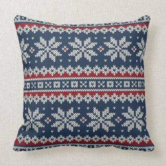 Winter Holiday Knitted Pattern Pillow