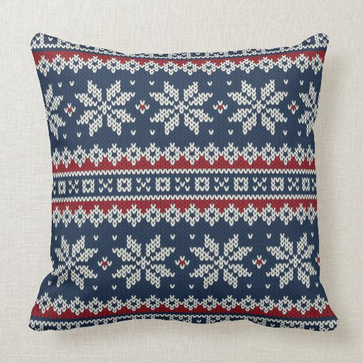 Knitting Patterns For Throw Pillows : Winter Holiday Knitted Pattern Throw Pillow Zazzle