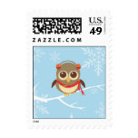 Winter Holiday Owl Postage Stamp