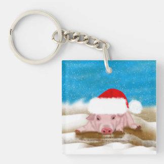 Winter Holiday Pig Key Chain - Key ring