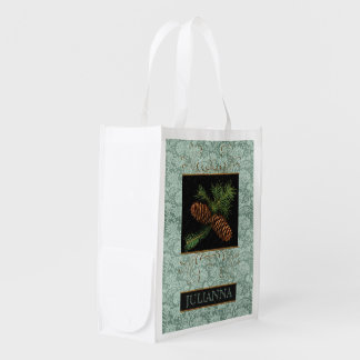 Winter Holiday Pine Cone Watercolor Grocery Bag