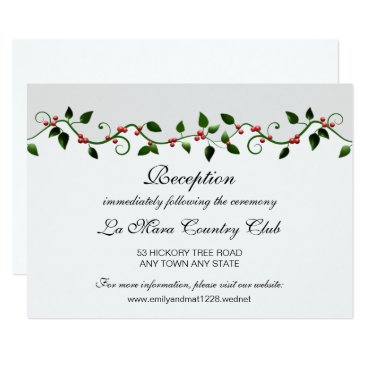 Professional Business Winter Holiday Red Berry Wedding Reception Detail Card