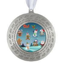 Winter Holiday Scene Cartoon Pewter Ornament