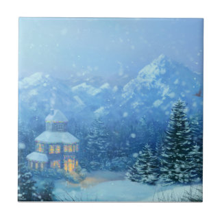 Winter Holiday Small Square Tile