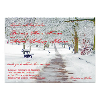 Winter Holiday Snow in the Park Wedding Invitation
