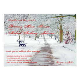 Winter Holiday Snow in the Park Wedding Invitation 4.5