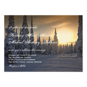 Winter Holiday Snow on Pine Trees Wedding Invites 4.5
