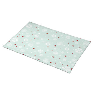 Winter Holiday Snowflakes Hearts on Blue Cloth Placemat