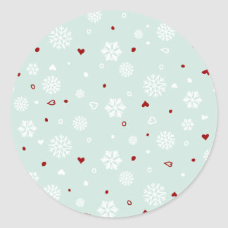 Winter Holiday Snowflakes Hearts on Blue Round Stickers