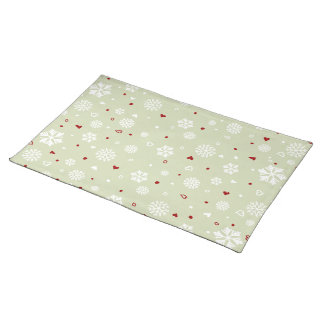Winter Holiday Snowflakes Hearts on Green Cloth Place Mat