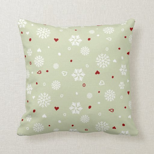 Winter Holiday Snowflakes Hearts on Green Pillow