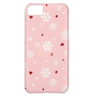 Winter Holiday Snowflakes Hearts on Pink iPhone 5C Cover