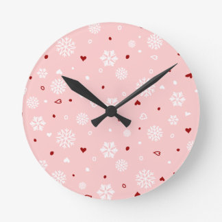 Winter Holiday Snowflakes Hearts on Pink Round Clock