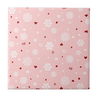 Winter Holiday Snowflakes Hearts on Pink Tile