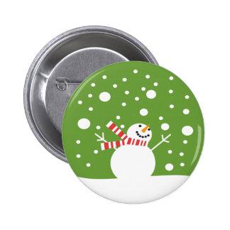 Winter Holiday Snowman Button