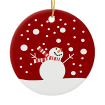 Winter Holiday Snowman Ceramic Ornament