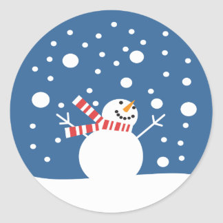 Winter Holiday Snowman Classic Round Sticker