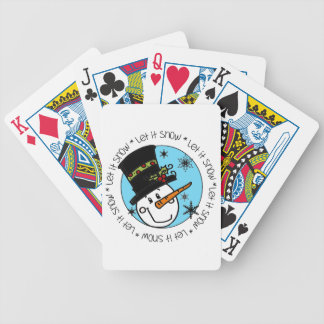 Winter Holiday Snowman Let It Snow Bicycle Playing Cards