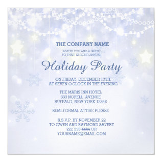 Winter Holiday Sparkle Office Invitations at Zazzle