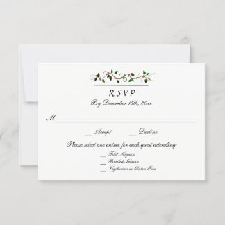 Winter Holiday Wedding 3 Entree RSVP Response