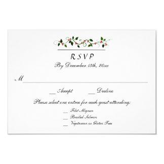 Winter Holiday Wedding 3 Entree RSVP Response Card