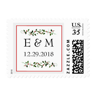 Winter Holiday Wedding Save the Date Postcard Sm Postage