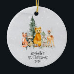 """Winter Holiday Woodland Animal 1st Christmas Ceramic Ornament<br><div class=""""desc"""">This design was created though digital art. It may be personalized in the area provide or customizing by choosing the click to customize further option and changing the name, initials or words. You may also change the text color and style or delete the text for an image only design. Contact...</div>"""