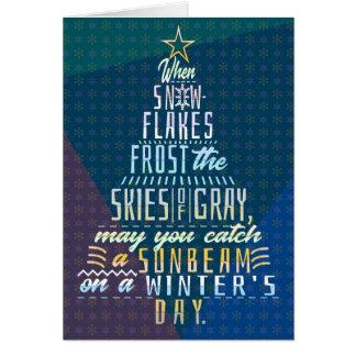Winter Holidays Christmas Tree Snowflakes Poem Card