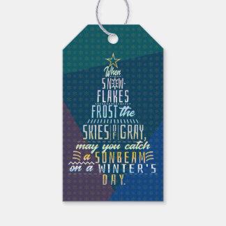Winter Holidays Christmas Tree Snowflakes Poem Gift Tags