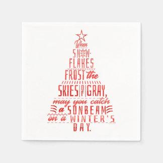 Winter Holidays Christmas Tree Snowflakes Poem Paper Napkin